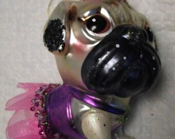Glass Christmas Ornament PUG DOG dressed in Purple Pink Dress Balerina Tu Tu Mans Best Friend