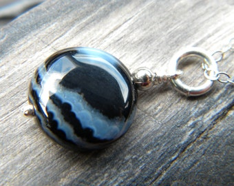 Black Botswana agate and bright sterling silver necklace - handmade gemstone jewelry