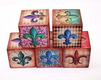 fleur de lis, Wooden Block, Shabby Chic, Cottage Chic, French, Colorful, Home Decor, Mixed Media, Artwork, Gift for Her, Free Shipping,