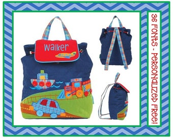 36 Fonts- Larger Kindergarten/ Preschool TRANSPORTATION Personalized Blue Quilted Backpack Monogrammed FREE! Car, Train, Boat, Airplane