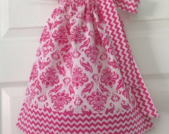 READY TO SHIP Hot Pink Damask Pillowcase Dress Size 6 months