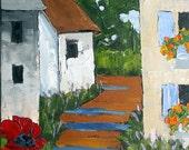 Impressionist PROVENCE Village Poppies Plein Air Landscape Oil Painting Original Art Lynne French 12x16
