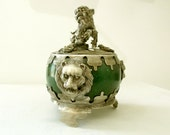 Chinese FOO DOG Tibetan Miao Silver Green Jade  INCENSE Burner Lions Frogs Censer Handmade