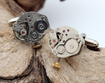 Men's Steampunk watch movement cuff links- polished matching pair with winding stems- Gift for him cufflinks