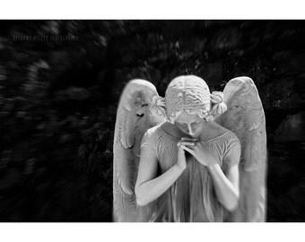 Angel Statue Photography Old San Juan Puerto Rico Cemetery Graveyard Art Dark Home Decor Woman Portrait Black and White Photography Fine Art