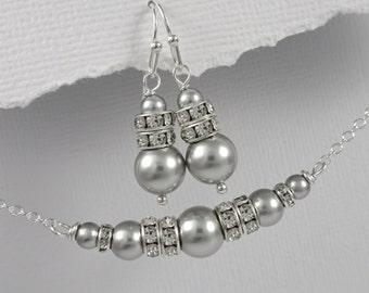 Light Grey Wedding Jewelry Set, Swarovski Light Grey Pearl Jewelry Set, Bridesmaid Jewelry Set, Grey Bridesmaid Gift, Light Grey Jewelry Set