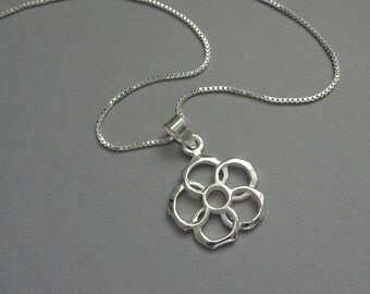 Sterling Silver Flower Necklace, Flower Girl Necklace, Flower Girl Gift, Sterling Silver Flower Necklace, Flower Girl Jewelry