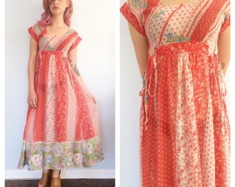 Vingage 70s Semi Sheer Floral Festival Maxi Dress