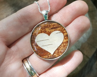 Birch Bark Heart Necklace - Brown Wood Heart - Real Birch Bark - Nature Jewelry