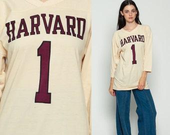 Harvard Shirt Football Tshirt 80s CHAMPION American Football T Shirt Jersey University Tee Long Sleeve 1980s Sports Vintage Medium Large