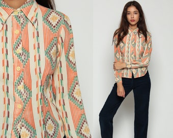 Southwestern Shirt Tribal Blouse 70s Button Up Aztec Shirt NAVAJO Print 1970s Vintage Boho Hippie Long Sleeve Orange Extra Small xs