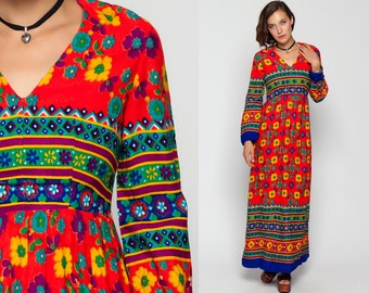70s Long Dress Floral Maxi Empire Waist Long Sleeve Hippie Boho 1970s Deep V Neck Blue Red Vintage Graphic Bohemian Small