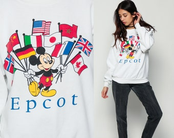 Mickey Mouse Sweatshirt Disney Sweater 80s Grunge Shirt Epcot Florida Cartoon Graphic Print 1980s Vintage Hipster White Retro Large