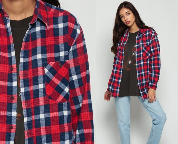 Flannel shirt 90s red blue plaid shirt grunge lumberjack up for Navy blue and red flannel shirt