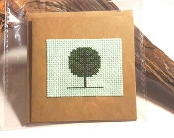 Tree Cross Stitch Greetings Card