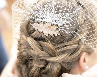 Golden Copper Leaf Hair Comb - Oak Leaf - Woodland Oak Leaf - Whimsical - Nature - Bridal Hair Accessory