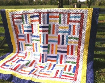Fence Rail Quilt, Queen Size Quilt, Handmade Quilt-NEW SALE PRICE