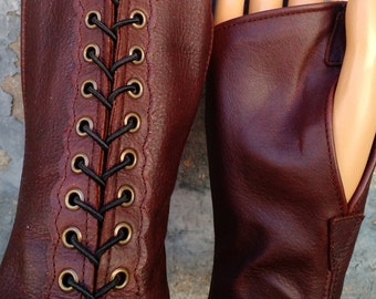 Dark Brown Leather Steampunk Short Fingerless Gloves with Antiqued Brass Eyelets and Black Lacing