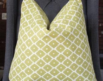 Schumacher Ziggurat Pillow Cover, Decorative Pillow, Throw Pillow, Chartreuse Pillow, Home Decor, Home Furnishing