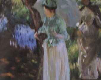John Singer Sargent- Two Girls with Parasols-- Unframed Reproduction Art Print, 9.5 x 14 in Book Page, Color Plate, Book Plate