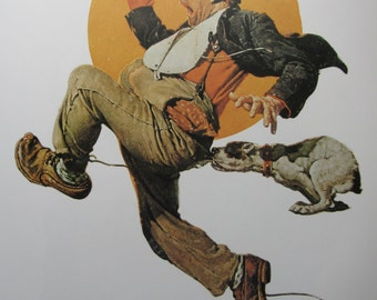 Fleeing Hobo/Serenade, Norman Rockwell Magazine Cover Prints, 2-Sided Vintage Book Page, Unframed Color Plate, 1979