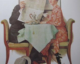 Breakfast/Home From Vacation, Norman Rockwell Magazine Cover Prints, 2-Sided Vintage Book Page, Unframed Color Plate, 1979