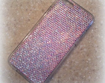iphone 5 / 5s, 6 / 6s, 6 / 6s Plus, 7, 7 Plus with clear cell phone case made with AB Swarovski Crystals - Very Elegant!