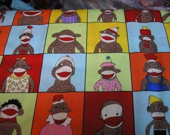Sale  Yearbook  Sock monkey Fabric   1/2 yard piece