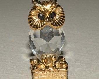 Miniature Cut Glass Owl Figurine on a Branch