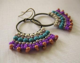 Summer Love--Fan Style Brick Stitched Hoop Earrings