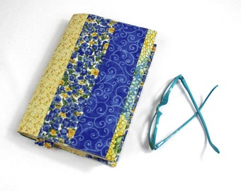 Patchwork Paperback Book Cover - Blue Green and Yellow Cotton Fabrics