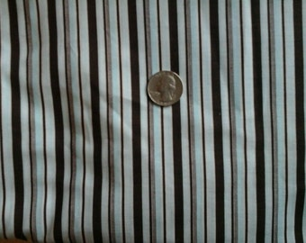 Deep Chocolate Brown White and Pale Blue Stripe Fabric 1 yd  100% Cotton.