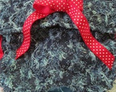 Dog Diapers Britches or Panties Soft Blue Distressed Denim with Red Ribbon and Trim
