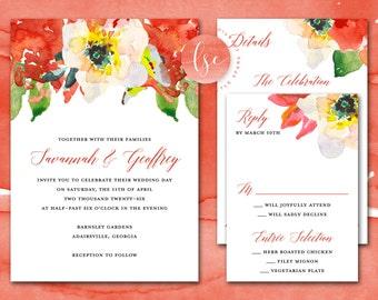 Printable Wedding Invitations, Wedding Invites, Red, Floral, Wedding Printable Invitation Suite Set | DIGITAL PRINTABLE