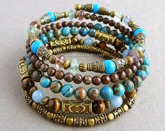 Blue and Brown Gemstone Memory Wire Bracelet, Antique Brass, Bronze, Tiger Eye, Howlite, Angelite, Jasper, Beaded Bangle, Boho, Gypsy