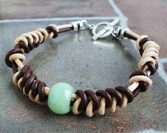 Unisex Leather Bracelet   Green Aventurine Stone Accent, Brown & Tan Genuine Leather, Handcrafted for Men and Women