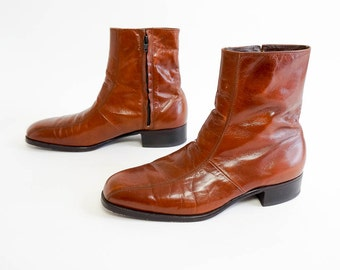 Vintage 1970s Mens Size 9 Boots / 70s Florsheim Imperial Brown Leather Mod Urban Ankle Boots VGC