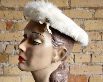 Reduced / Vintage 1960s Rabbit Fur Saucer Hat / Winter Wedding Hat