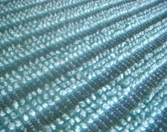 Aqua Morgan Jones with Silver Lurex Vintage Cotton Chenille Bedspread Fabric 24 x 24 Inches
