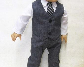 "Charcoal Dress Suit for 18"" Boy Dolls"