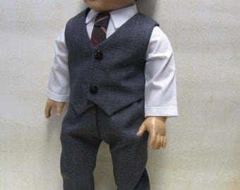 """Charcoal Dress Suit for 18"""" Boy Doll"""
