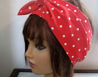 Bandana HeadBand,ExtraLong, Hair scarf, PolkaDots RED, Cotton head scarf, Self tie bandana, Pinup head scarf, RockaBilly HairBand, #1