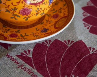 Dahlia Red on Flax Linen Tea Towel