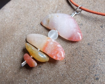 Natural Carnelian / Agate pendant necklace - natural gem stone jewelry handmade in Australia. crystal jewellery