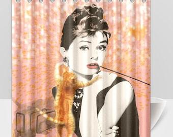 Audrey Hepburn Holly Golightly Orange Cat Breakfast At Tiffany's Shower Curtain