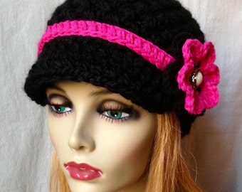 Crochet Newsboy, Hat, Black, Hot Pink Flower, Pearl Button, Holiday Gifts for Her, Birthday Gifts JE148NFR9
