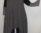 Coco and Juan Plus Size Top Lagenlook Layering Tunic Top Black and White Heather Knit Size 1 Fits 1X,2X  Bust  to 50 inches