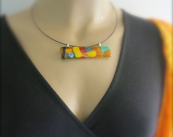 Multicolor Millefiori Fused Glass Pendant Necklace