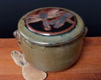 Large Stoneware French Butter Crock With Clay Knife ~ Dragonfly Design ~ holds 2 sticks