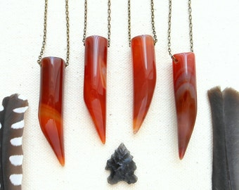 Carnelian tusk necklace mens crystal necklace necklace hippie jewelry root chakra sacral chakra